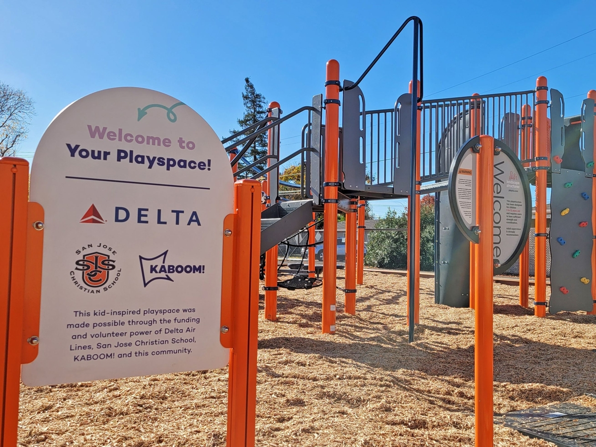 San Jose Christian School, Delta Air Lines and KABOOM! Work to End Playspace Inequity with a New Playground in Campbell, CA.