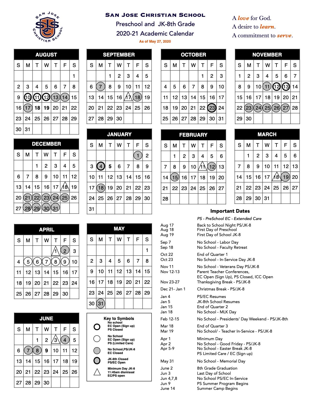 San Jose Christian School Calendar 2020-2021